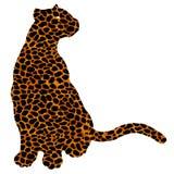 Drawn jaguar, leopard, wild cat, panther coloured silhouette. Drawn jaguar, leopard, cheetah, wild cat, panther, puma colored silhouette africa fur leather stock illustration
