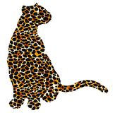 Drawn jaguar, leopard, wild cat, panther coloured silhouette. Drawn jaguar, leopard, cheetah, wild cat, panther, puma colored silhouette ocelot fur leather royalty free illustration