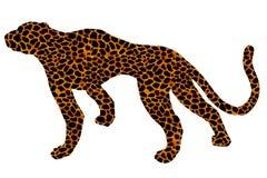 Drawn jaguar, leopard, wild cat, panther coloured silhouette. Drawn jaguar, leopard, cheetah, wild cat, panther, puma colored silhouette africa fur leather royalty free illustration