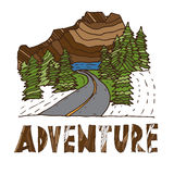 Drawn labels for adventure themes. Vector Stock Photo