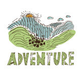 Drawn labels for adventure themes. Vector Royalty Free Stock Images