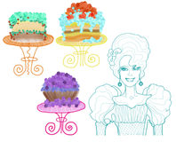 Drawn lady and chocolate cakes on the different tables. Drawn queen in blue color and colorful chocolate cakes on the table Royalty Free Stock Photo