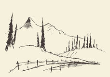 Drawn landscape hills rural road vector sketch. Royalty Free Stock Image