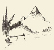 Drawn landscape mountain lake fir forest vector. Hand drawn landscape with mountain, lake and fir forest. Vector illustration Stock Images