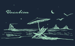 Drawn landscape seaside night beach boat vector Stock Image