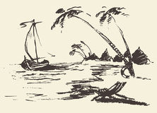 Free Drawn Landscape Seaside View Beach Boat Vector Royalty Free Stock Photo - 66593645