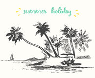Free Drawn Landscape Seaside View Beach Boat Vector Royalty Free Stock Images - 70816539