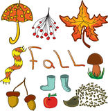 Drawn leaves and word fall Stock Image