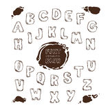 Drawn letters of the English alphabet, and stains blots Stock Images