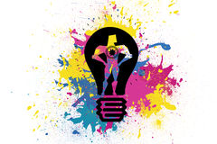 Drawn light bulb with figure over splashes. Kind of amazing Drawn light bulb with figure over splashes Royalty Free Stock Images