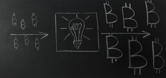 Drawn light bulb inside the text - idea, with logo bitcoin on blackboard. stock photography