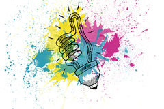Drawn light bulb showing thumb up over splashes Stock Image