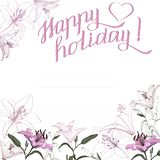Drawn lilies with the inscription Happy holiday royalty free stock photo
