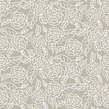 Drawn line rose wedding seamless vector pattern. Stock Photo