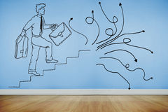 Drawn man climbing stairs on blue wall Royalty Free Stock Photography
