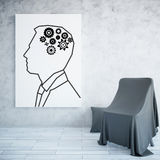 Drawn man with cogwheels Stock Images