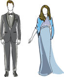 Drawn man in suit and woman wearing blue dress Stock Photo