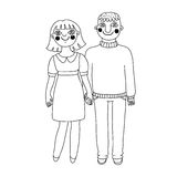 Drawn man and woman. Young couple in love. Royalty Free Stock Photo