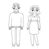 Drawn man and woman. Young couple. Royalty Free Stock Photo