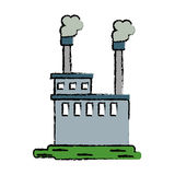 Drawn manufactory industry producing gas royalty free illustration