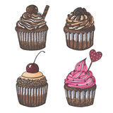 Drawn with markers set of four chocolate cupcakes isolated on white background Stock Photos