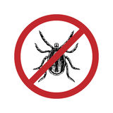 Drawn mite in crossed out circle. Top view. Vector illustration. Stock Image
