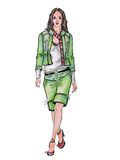 Drawn model in green suit Royalty Free Stock Photo
