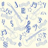 Drawn Music Notes Icon Set Royalty Free Stock Photography