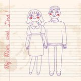 Drawn in a notebook mom and dad. Royalty Free Stock Photo