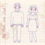 Drawn in a notebook mom and dad. Stock Image