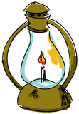 Drawn oil lamp. On white background, close-up view. Vector illustration Royalty Free Stock Image