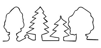 Drawn with one line trees in forest Stock Image