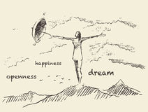 Drawn openness happiness concept vector sketch Royalty Free Stock Photos