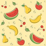 Drawn Outline Fruit Pattern Royalty Free Stock Photography