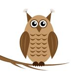 The drawn owl on a white background sits on the br. Anch of tree, illustration royalty free illustration