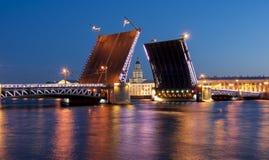 Drawn Palace Bridge and Kunstkamera at white night, Saint Petersburg, Russia Royalty Free Stock Image