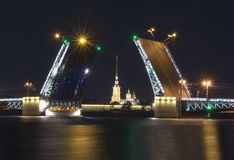 Drawn Palace Bridge and Peter and Paul Fortress at white night, Saint Petersburg, Russia Royalty Free Stock Photography