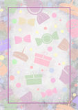 Drawn pastel background with cakes, candy and gifts Royalty Free Stock Images
