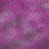 Drawn pastel violet background with hearts and dots. Series of Watercolor, Pastel, Chalk, Backgrounds Royalty Free Stock Image