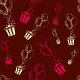 The drawn pattern of balloons with a gift. Vector Stock Images