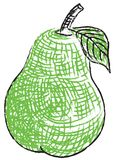 Drawn Pear. With cross hatching for texture and contour Royalty Free Stock Photos