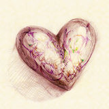 Drawn in pencil heart Royalty Free Stock Images