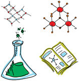 Drawn picture with chemistry symbols. Vector Stock Photos