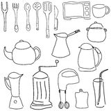 Drawn picture with kitchen stuff Royalty Free Stock Photo