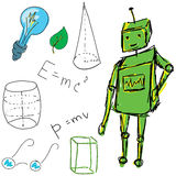 Drawn picture with physics stuff and robot. Vector Royalty Free Stock Images