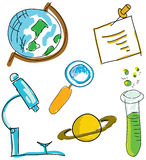 Drawn picture with science stuff. Vector Royalty Free Stock Image