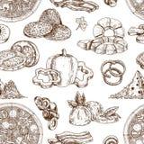 Drawn Pizza Ingredients Pattern stock illustration