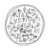 Drawn pizza with many different pieces of smilies inside. Drawn pizza with a many different pieces of smilies inside stock illustration