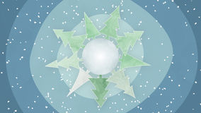 Drawn planet with fir trees and snowfall Royalty Free Stock Images
