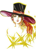 Drawn portrait of young lady from the Broadway Show in the big hat Stock Photography